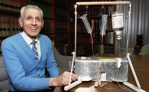 Kevorkian with his 'suicide machine' in 1991