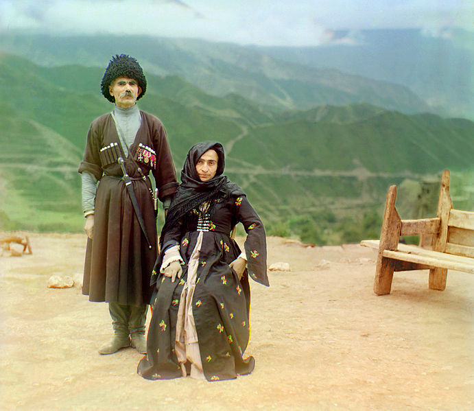 Dagestani couple posed outdoors for a portrait (1904)/ Creative Commons/ by 	  Sergei Mikhailovich Prokudin-Gorskii Collection (Library of Congress)