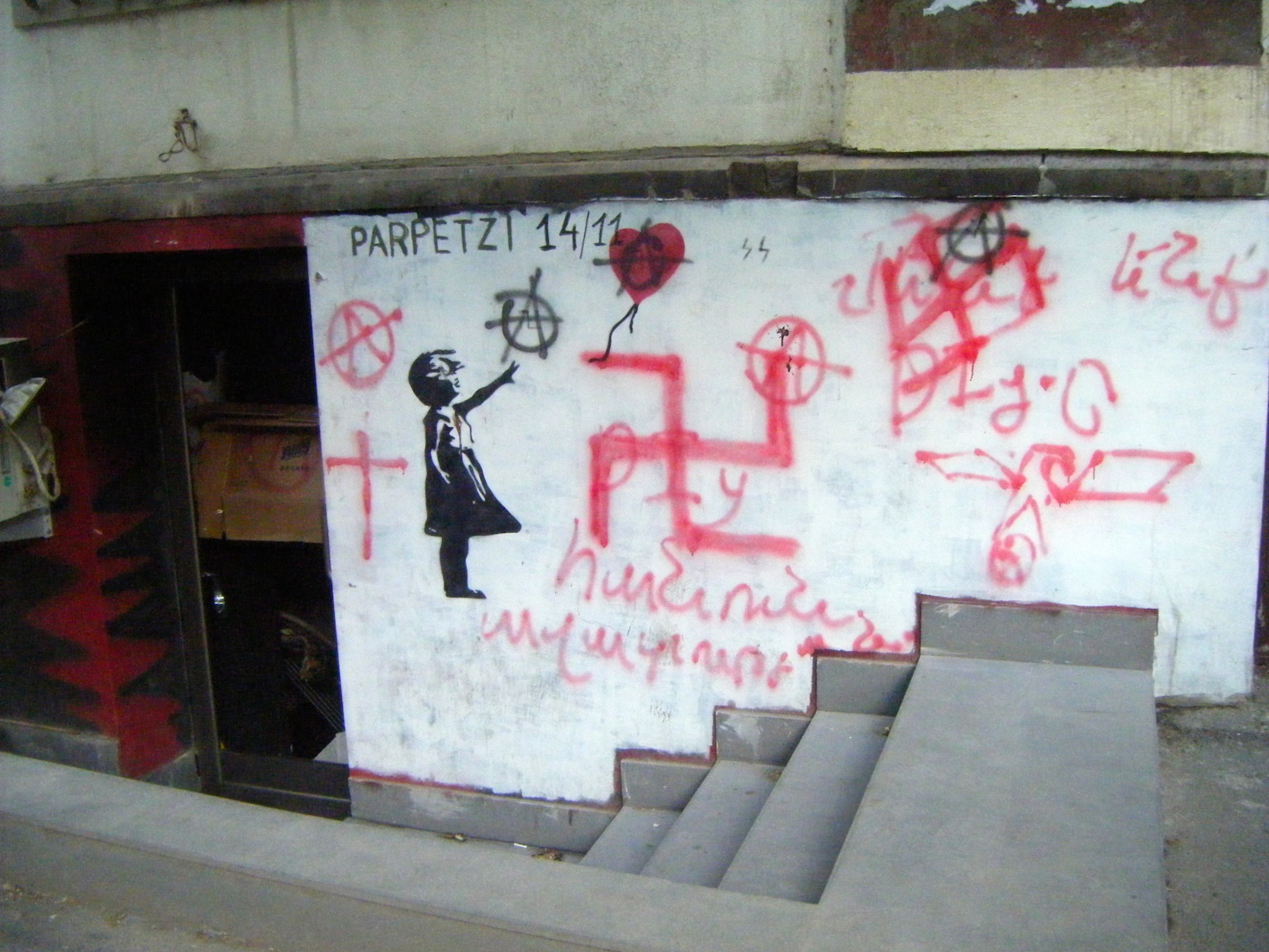 After the firebombing of DIY bar in Yerevan, swastikas were painted on its walls/photo courtesy of Z.G