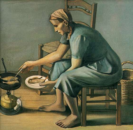A woman frying fish. 1962. Oil on canvas. 70 X 80 cm.